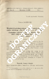 """Corixidae collected during the Winter Voyage, 1931-1932, of the Polish Training Ship """"Dar Pomorza"""""""