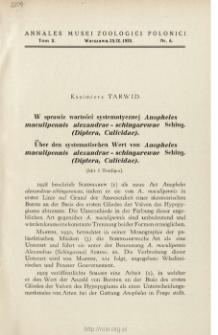 Über den systematischen Wert von Anopheles maculipennis alexandrae-schingarewae Sching. (Diptera, Culicidae)
