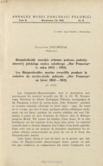 """Les Harpacticoïdes marins recueillis pendant la croisière du navire-école polonais """"Dar Pomorza"""" en hiver 1931-1932"""
