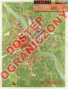 Warszawa : mapa miasta w skali 1:20 000 wraz z inwentaryzacją zniszczeń popełnionych przez Niemców w latach 1939-1945 : nazwy ulic zgodne ze stanem z dnia 1 stycznia 1948 r. = Map of Warsaw at scale 1:20 000 and inventory of destruction perpetrated by the Germans during the war 1939-1945