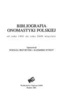Bibliografia onomastyki polskiej od roku 1991 do roku 2000 włącznie