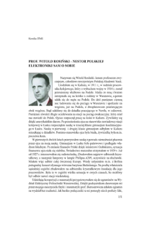 Prof. Witold Rosiński - nestor polskiej elektroniki sam o sobie
