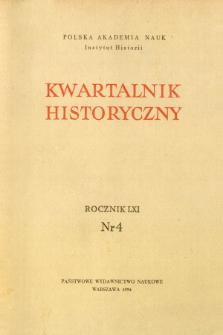 Kwartalnik Historyczny R. 61 nr 4 (1954), Strony tytułowe, Spis treści