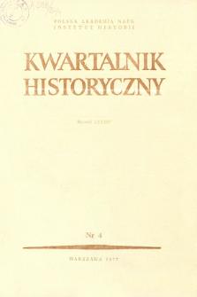 Kwartalnik Historyczny R. 84 nr 4 (1977), Strony tytułowe, spis treści