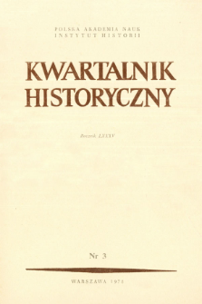 Kwartalnik Historyczny R. 85 nr 3 (1978), Strony tytułowe, spis treści