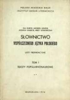 Słownictwo współczesnego języka polskiego : listy frekwencyjne. T. 1, [Cz. 2]. Teksty popularnonaukowe