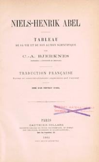 Niels-Henrik Abel : tableau de sa vie et de son action scientifique