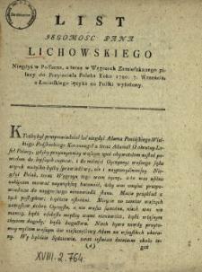 List Jegomosc Pana Lichowskiego Niegdyś w Polszcze, a teraz w Węgrzech Zamieszkanego pisany do Przyiaciela Polaka Roku 1790. 7. Września : z Łacinskiego ięzyka na Polski wyłożony