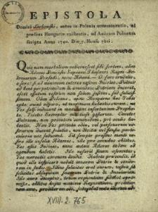Epistola Domini Lichowski, antea in Polonia commanentis ad præsens Hungariæ existentis, ad Amicum Polonum scripta Anno 1790. Diæ 7. Mense 7bri