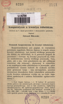Kooperatyzm a kwestya robotnicza : referat na V. Zjazd prawników i ekonomistów polskich