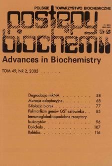 Postępy biochemii, Tom 49, Nr 2
