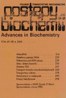 Postępy biochemii, Tom 49, Nr 4