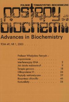 Postępy biochemii, Tom 49, Nr 1