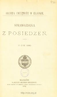 Sprawozdania z Posiedzeń, Spis treści i dodatki. Rok 1893