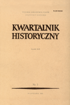 Kwartalnik Historyczny. R. 92 nr 3 (1985), Title pages, Contents