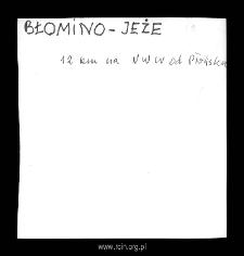 Błomino-Jeże. Kartoteka powiatu płońskiego w średniowieczu. Kartoteka Słownika historyczno-geograficznego Mazowsza w średniowieczu