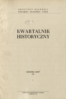 Kwartalnik Historyczny R. 74 nr 1 (1967), Title pages, Contents