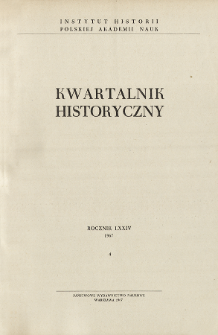 Kwartalnik Historyczny R. 74 nr 4 (1967), Title pages, Contents