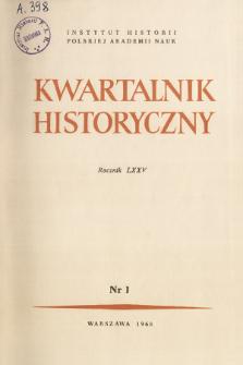 Kwartalnik Historyczny R. 75 nr 1 (1968), Strony tytułowe, spis treści