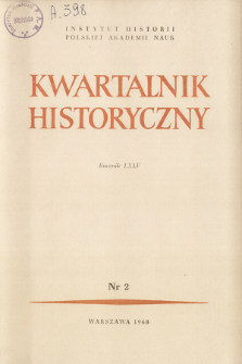 Kwartalnik Historyczny R. 75 nr 2 (1968), Title pages, Contents