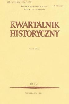 Kwartalnik Historyczny R. 96 nr 1/2 (1989), Strony tytułowe, Spis treści
