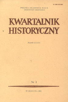 Kwartalnik Historyczny R. 89 nr 1 (1982), Title pages, Contents