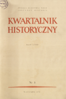 Kwartalnik Historyczny R. 82 nr 3 (1975), Title pages, Contents