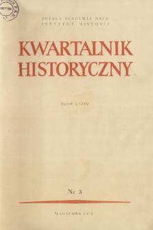 Kwartalnik Historyczny R. 82 nr 3 (1975), Strony tytułowe, Spis treści