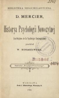 Historya psychologii nowożytnej = (Les origines de la psychologie contemporaine)
