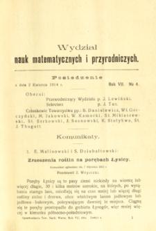 Sprawozdania z Posiedzeń Towarzystwa Naukowego Warszawskiego, Wydział III, Nauk Matematycznych i Przyrodniczych. Rok VII. No 4.