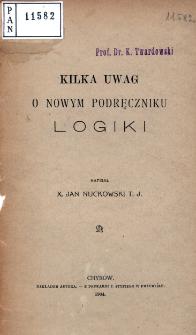 Kilka uwag o nowym podręczniku logiki