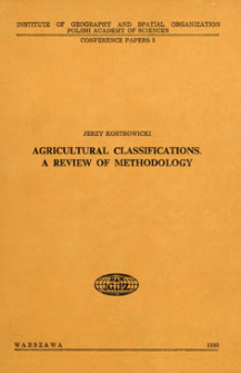 Agricultural classifications : a review of methodology
