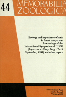 Ecology and importance of ants in forest ecosystems : proceedings of the International Symposium of IUSSI (Łopuszna n. Nowy Targ, 11-16 September, 1989) and other papers - spis treści