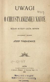Uwagi o chrystyanizmie i nauce