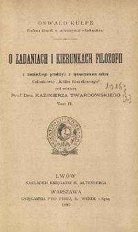 O zadaniach i kierunkach filozofii. T. 2