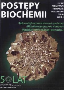 Postępy biochemii, Tom 54, Nr 4