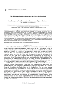 The fish fauna in selected rivers of the Mazovian Lowland