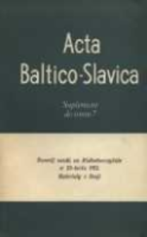 Acta Baltico-Slavica T. 7, Suplement (1971)