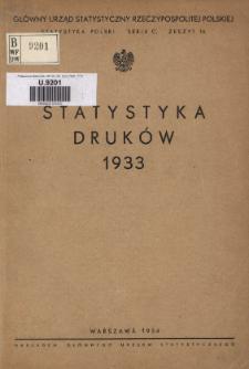 Statystyka Druków = Statistique des Imprimés 1933