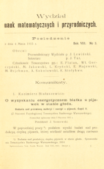 Sprawozdania z Posiedzeń Towarzystwa Naukowego Warszawskiego, Wydział III, Nauk Matematycznych i Przyrodniczych. Rok VIII. No 3.