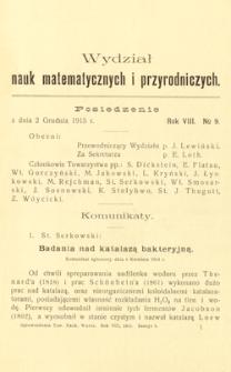 Sprawozdania z Posiedzeń Towarzystwa Naukowego Warszawskiego, Wydział III, Nauk Matematycznych i Przyrodniczych. Rok VIII. No 9.
