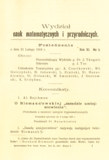 Sprawozdania z Posiedzeń Towarzystwa Naukowego Warszawskiego, Wydział III, Nauk Matematycznych i Przyrodniczych. Rok XI. No 2.