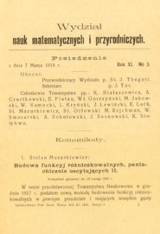 Sprawozdania z Posiedzeń Towarzystwa Naukowego Warszawskiego, Wydział III, Nauk Matematycznych i Przyrodniczych. Rok XI. No 3.