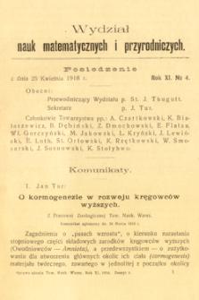 Sprawozdania z Posiedzeń Towarzystwa Naukowego Warszawskiego, Wydział III, Nauk Matematycznych i Przyrodniczych. Rok XI. No 4.