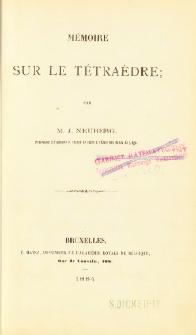 Mémoire sur le tétraèdre
