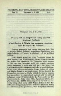 Przyczynek do znajomości fauny pijawek (Hirudinea) Podlasia = Contribution à l'étude des sangsues (Hirudinea) dans le région de Podlasie