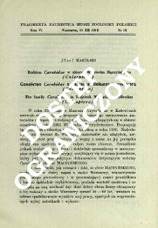 Rodzina Carabidae w zbiorze Wojciecha Mączyńskiego (Coleoptera) = Semejstvo Carabidae v kollekcii Vojceha Mončinskogo (Coleoptera)