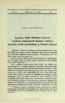 Syrphidae okolic Warszawy (Diptera) = Syrphidae okrestnostej Varšavy (Diptera)