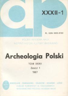 Archeologia Polski T. 32 (1987) Z. 1, Recenzje