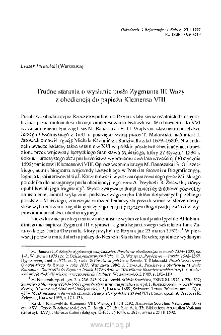 Trudne starania o wysłanie posła Zygmunta III Wazy z obediencją do papieża Klemensa VII